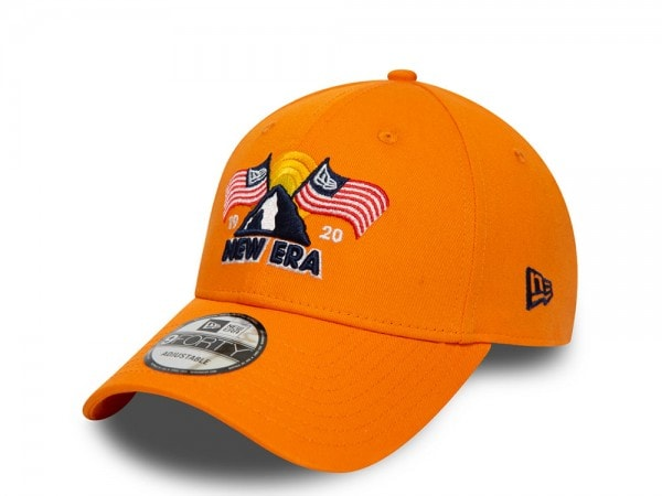 New Era NE USA Patch Orange 9Forty Strapback Cap