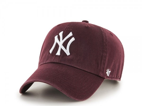 47brand New York Yankees Dark Maroon Clean Up Strapback Cap