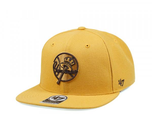 47Brand New York Yankees Wheat No Shot Captain Snapback Cap