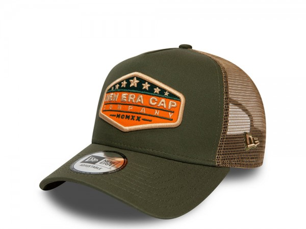 New Era NE Star Patch Olive A Frame Trucker Cap