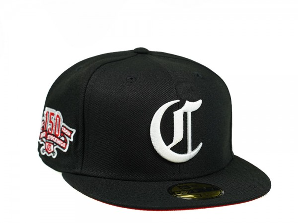 New Era Cincinnati Reds 150th Anniversary Black and Red 59Fifty Fitted Cap