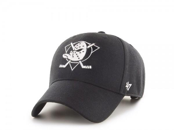 47Brand Anaheim Ducks White on Black MVP Snapback Cap