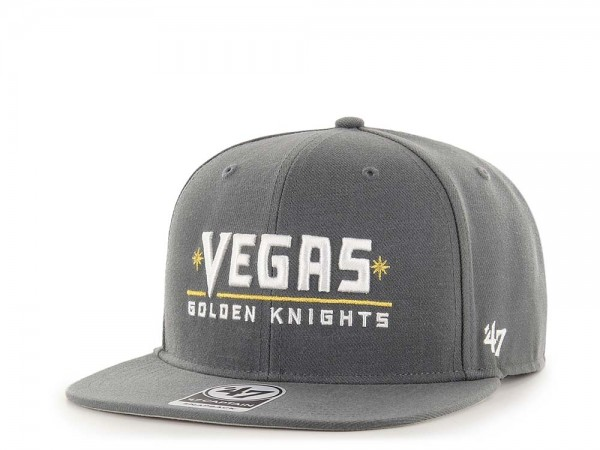47Brand Vegas Golden Knights No Shot Charcoal Script Captain Snapback Cap