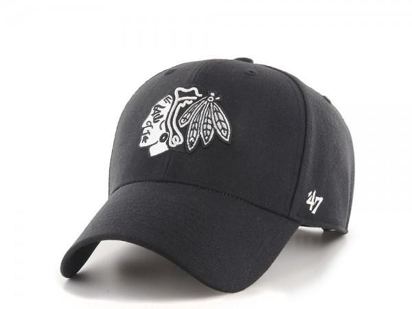 47brand Chicago Blackhawks Black and White MVP Snapback Cap