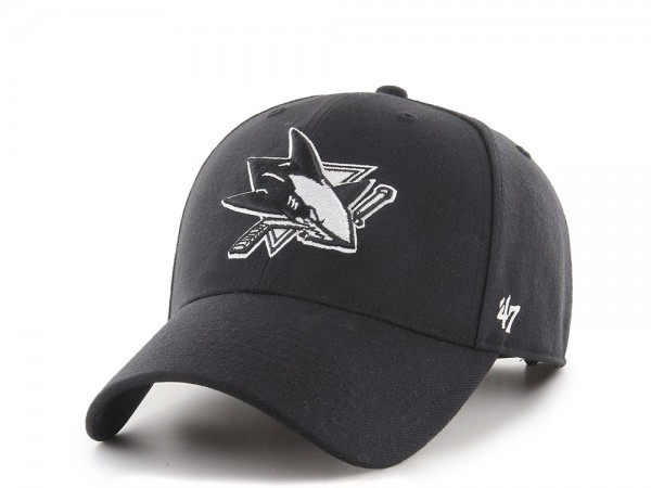 47brand San Jose Sharks Black and White MVP Snapback Cap