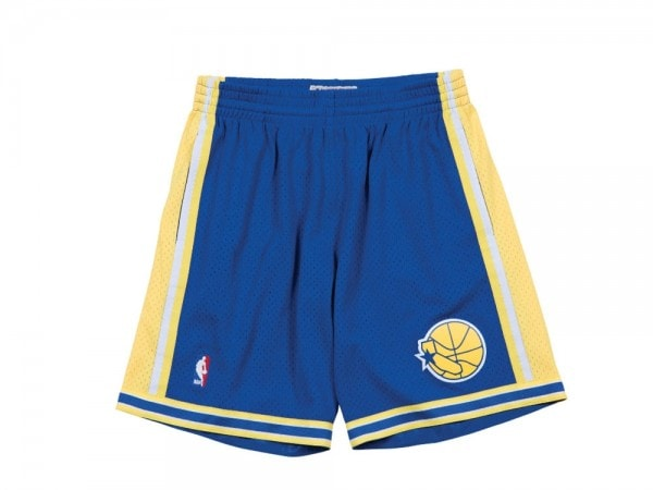Mitchell & Ness Golden State Warriors Swingman Shorts Blau und Gelb