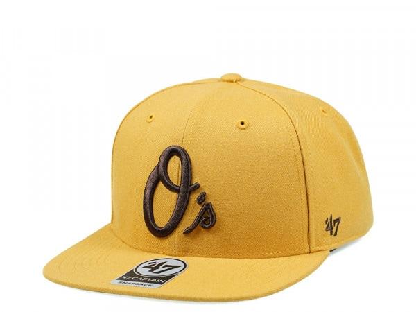 47Brand Baltimore Orioles Wheat No Shot Captain Snapback Cap